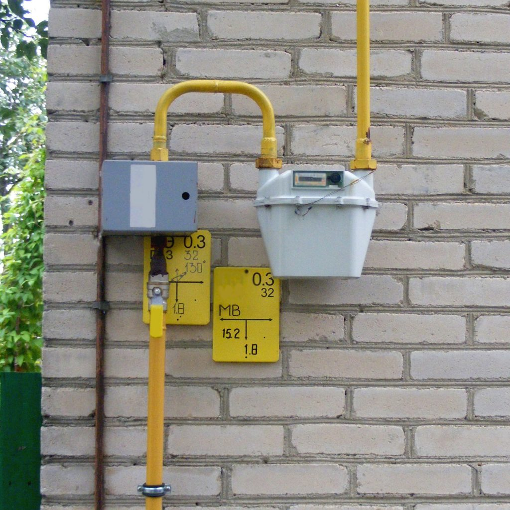 gas meter with yellow pipes