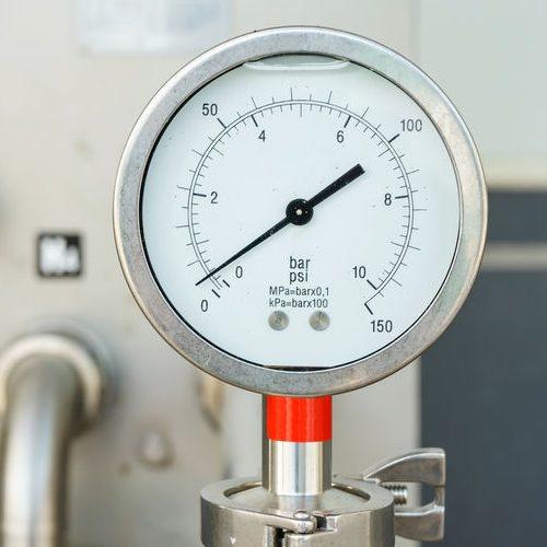 Closeup of Gas Pressure Gauge.