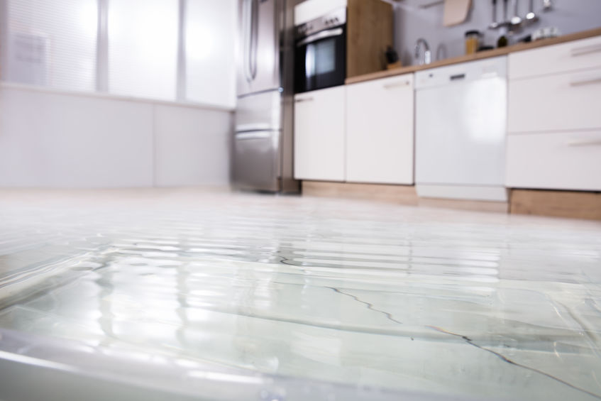 Close Up Picture of Flooded Kitchen Floor.