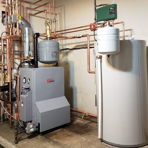 A Picture of a Hot Water Boiler and Water Heater.